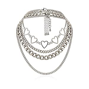 Best Epic Trends 41yofdnNxeL._SS300_ Simple Hearts Necklace Lolita Choker Chain for Girls Women Layered Cuban Chunky Chain Necklace Chic Style Wedding Dress…