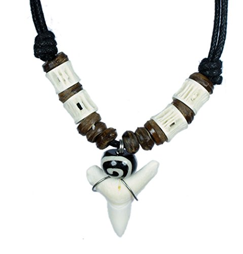 Exoticdream Real Shark Tooth Necklace Surfer Hawaiian Beach Boys Girls Men - Color White Bone (white&wood) ()