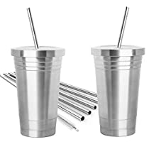 2 Pack STAINLESS STEEL TUMBLER (16oz) with 2 Stainless Steel Straws, Cleaning Brush & Dual Layer Insulation - Ideal Travel Tumbler To Keep Your Hot and Cold Drinks At Temperature Longer