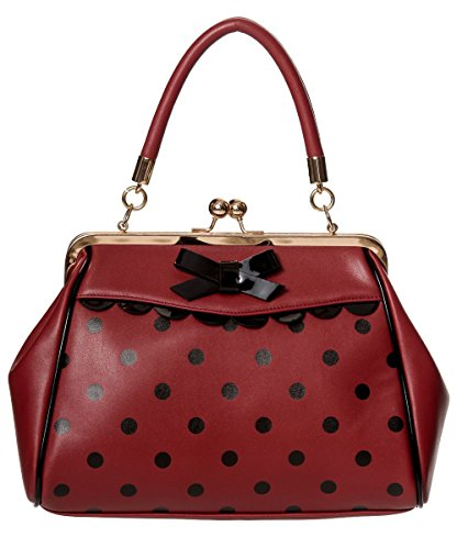 Banned Apparel Crazy VINTAGE 50s ROCKABILLY de lunares Retro Bolso burdeos / Negro