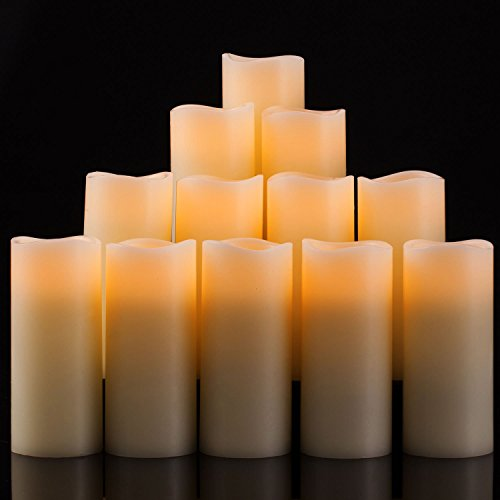 Enpornk Set of 12 Flameless Candles Battery Operated LED Pillar Real Wax Flickering Electric Unscented Candles with Remote Control Cycling 24 Hours Timer, Ivory Color by Enpornk (Image #1)