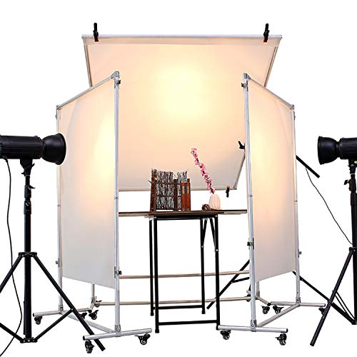 Snow Diamond Photo Studio Free-Standing and Removable Lighting Diffuser and Reflector Flat Panel with Universal Wheel,for Professional Portrait Photography and Product Advertising Photography ()