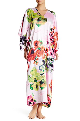 Natori Waterspring Floral Print Caftan (M, Pink)