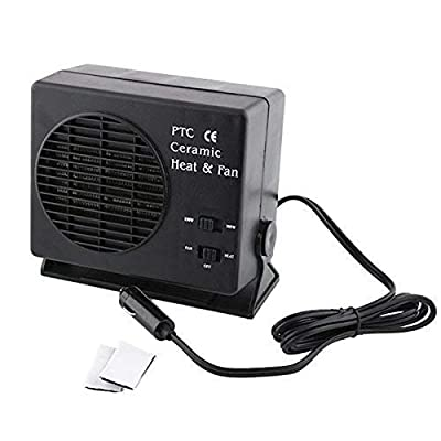 Black Car Portable Ceramic Heater Fan with 105cm Cable, High Power Switchable, 12V 150W/300W 19 x12 x17cm
