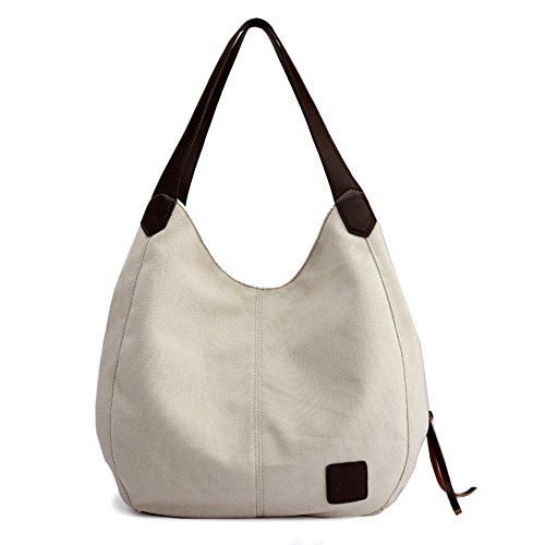 Alyssaa Women's Canvas Shoulder Handbags Ladies Casual Hobo Shopping Bags Cotton Totes Daily Purses (Beige) by Alyssaa