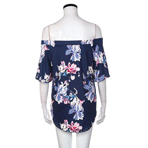 Tefamore Damen Flache Shouders Floral Bedruckte Bluse Lässigen Tops T-Shirt,Marine