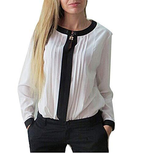 Manches en plisse Soie Dames Chemise Mousseline lgant dcontracte Blanc Longues de PW0a50