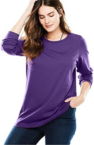 Women's Plus Size Top, Perfect T-Shirt With Crew Neck Royal Grape,6X