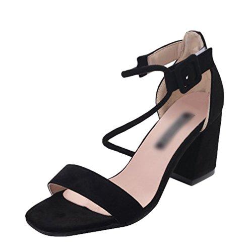 Sentaoa Femmes Élégant Sandales Open Toe Talon Chunky avec la Cheville Bracelet Sandales Été Talons Hauts Chaussures Boucle Cheville Noir