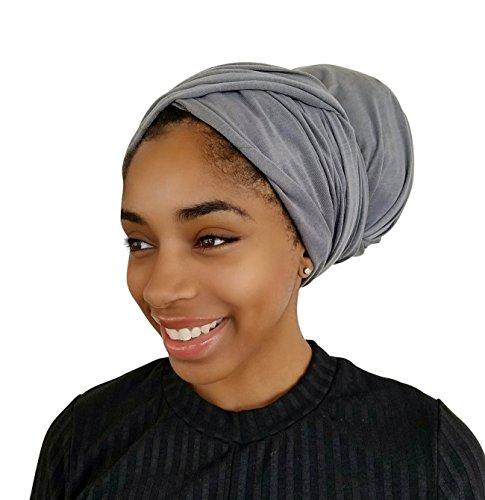 Rayna Josephine Stretch Head Wrap - Long Solid Color Turban Hair Scarf Tie by (Stone Gray) (Wrap Scarf Head Turban)