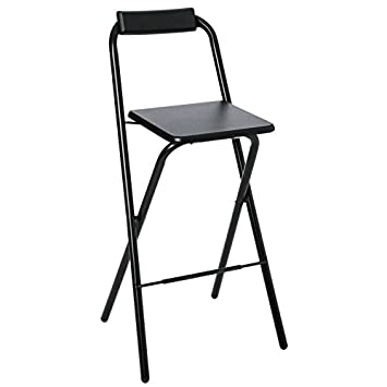 AC Déco Chaise de Bar Pliable Lot de 2 Noir Louna
