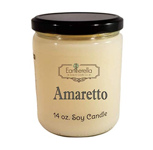 AMARETTO Natural Soy Wax 14 oz. Jar Candle, 90+ hours, cherry, almond, sweet, strong ()