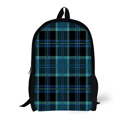 (Pinbeam Backpack Travel Daypack Black Tartan Plaid Blue Heritage Kilt Scotland Abstract Waterproof School Bag)