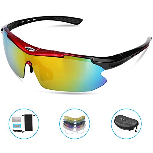 HiCool Cycling Glasses, Polarized Sports Sunglasses with 5 Interchangeable Lenses UV Protection Unbreakable Driving Running Hiking Golf Baseball Fishing Biking Glasses for Men Women Youth