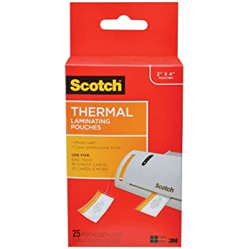 Amazon scotch 50 count 3m thermal laminating pouches scotch thermal laminating pouches 248 in x 421 in luggage tag size with loop reheart Images