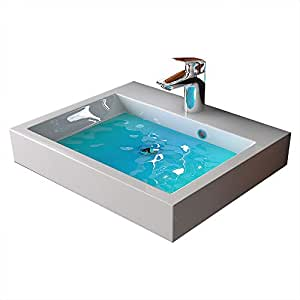 Lavabo de mineral fundido rectangular lavabo mano 50 cm for Amazon lavabos