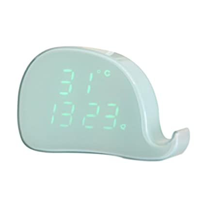 ES-BLUS Despertador/Led Control por Voz Reloj Despertador Digital/Temperatura Carga USB