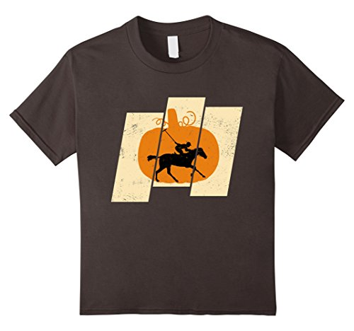 Kids Pumpkin Horse Riding Sports Lovers Halloween T-Shirt 4 Asphalt (Child Equestrienne Costume)