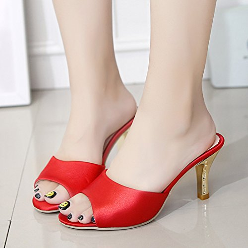 Dress Heeled Toe Jiyaru Women for Peep Wedding Shoes Slippers Red Party Sandals nAYOA