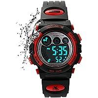 [Patrocinado] Kids Relojes Deportes de los niños para las niñas niños impermeable militar Dual Display LED–Reloj, Negro Rojo