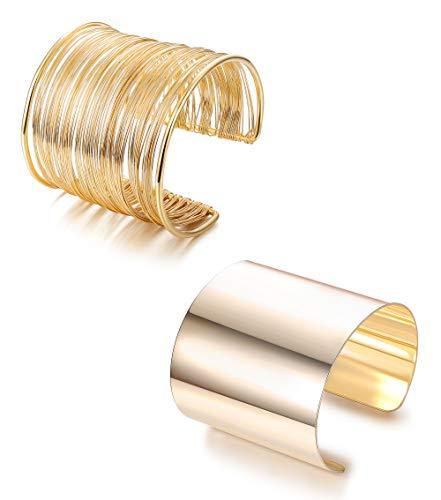 LOLIAS 2 Pcs Cuff Bangle Bracelet Set Open Wide Wire Bracelets Adjustable Gold Plated