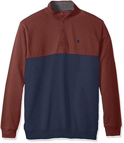 [IZOD Men's Big and Tall Saltwater Colorblock Button Mock Shirt, Andorra/Anchor, 2X-Large Big] (Vineyard Salt)