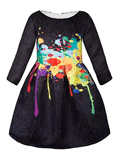 Butterfly Long Dress - Girls Kids Casual Dress Paint Butterfly Rose Animal Fall Long Sleeve/Sleeveless Dresses