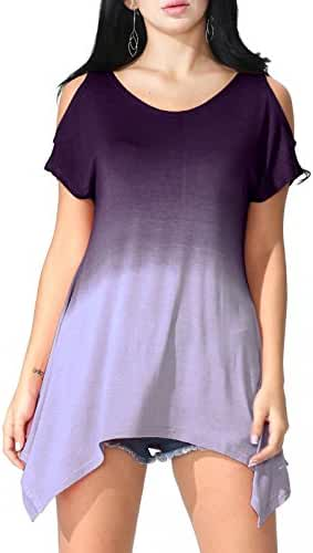 JayJay Women U-neck Cold Shoulder Short Sleeve Tie Dye Print Tunic Top