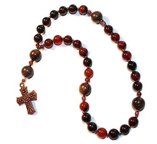 Anglican Rosary of Sea Agate, Copper Cross ()