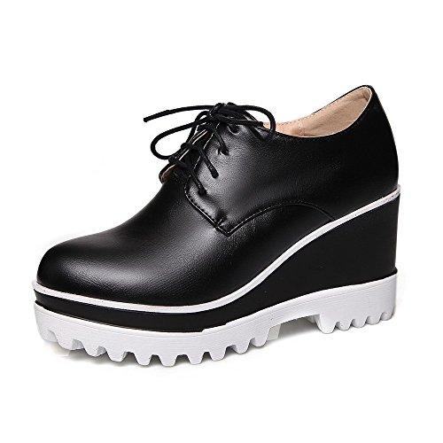 kengät Yksilankaista Naisten Sitoa Amoonyfashion Pu Korkokengät Suljettu Musta Pumput Toe qISwI