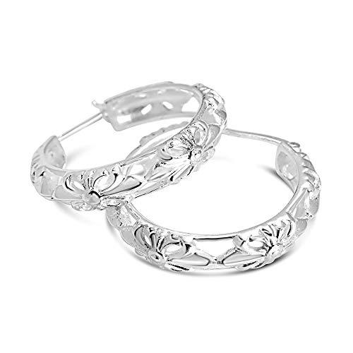925 Solid Sterling Silver Filigree Latch-Back Dangling Hoop Earrings - Girls and Women Jewelry (30mm)