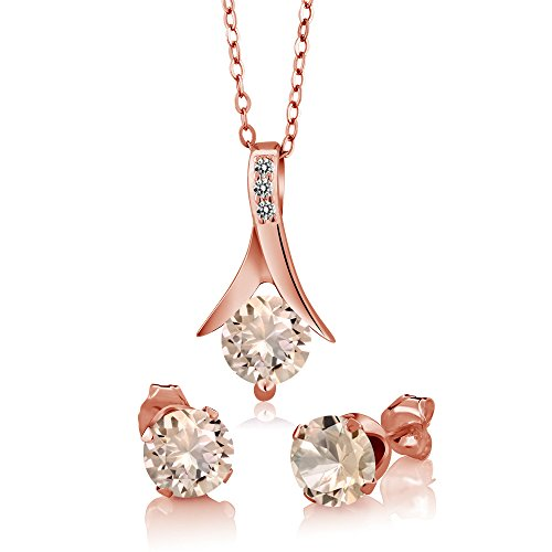 (Gem Stone King 1.85 Ct Peach Morganite Diamond 18K Rose Gold Plated Silver Pendant Earrings Set)