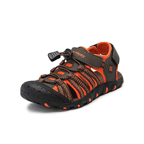 (DREAM PAIRS Big Kid 171111-K Brown Orange Outdoor Summer Sandals Size 4 M US Big Kid)