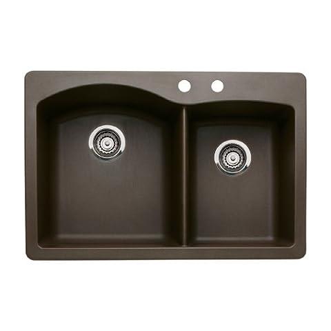 Blanco 440213-2 Diamond 2-Hole Double-Basin Drop-In or Undermount Granite Kitchen Sink, Cafe Brown (Brown Granite Kitchen Sinks)