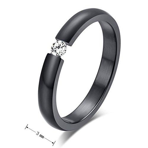 SAINTHERO Mens Womens Wedding Engagement Promise Rings Slim 3MM Titanium Steel 18K Black Gold CZ Bands Size 5 by SAINTHERO (Image #1)