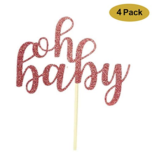 4 Pack Oh Baby Cake Topper, Oh Baby Shower Cake Topper Rose Gold Gender Reveal Baby Shower Party Cake toppers Decoration -