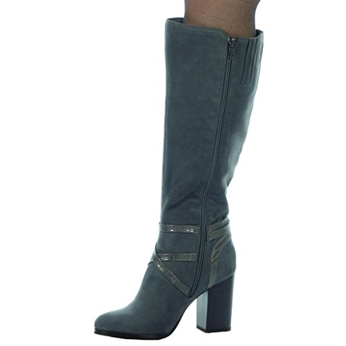 Angkorly Zapatillas de Moda Botas botas altas flexible mujer piel de serpiente tanga Hebilla Talón Tacón ancho alto 8.5 CM - plantilla Forrada de Piel Gris