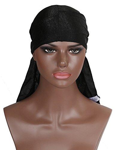 Boo Cap (Silk Durag Doo Du Rag – Black Colored Mane Satin Du-rag Cap Hat Men Smooth and Thick Cold Label Boo Boo Waves Deluxe Dorag Cap Silky)