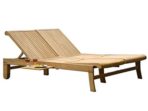 TeakStation Made from A-Grade Teak Wood Giva Multi Position Sun Double Chaise Lounger Steamer with Slide Out Tray (Furniture only) #33CLGivaDouble