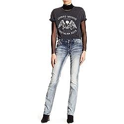 Rock Revival Womens Nancy Embellished Easy Straight Leg Jeans Denim