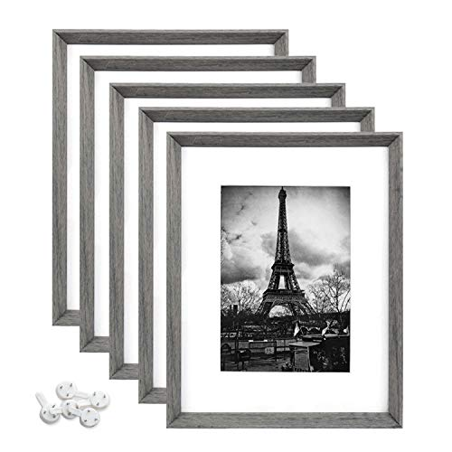 upsimples 8x10 Picture Frame with Real Glass and Mat,Rustic Photo Frames for Wall or Tabletop Display,Set of 5 (Frame For 8x10 Photo)