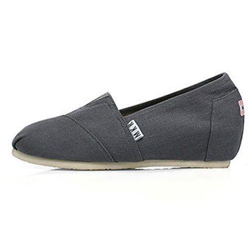 Toile Chaussures pente avec toile Chaussures femelle étudiants en haute Bouche peu profonde, forme basse avec Gris 35