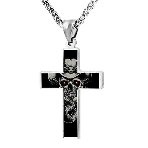 (Cowboy Skull Design Zinc Alloy Necklace Chain Cross Pendant Stainless Crucifix Unisex Best Gift)