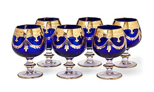 (Interglass - Italy, Cobalt Blue Crystal Cognac Snifters Goblets, Vintage Design, 24K Gold Hand Decorated, 10 Oz, SET OF 6)