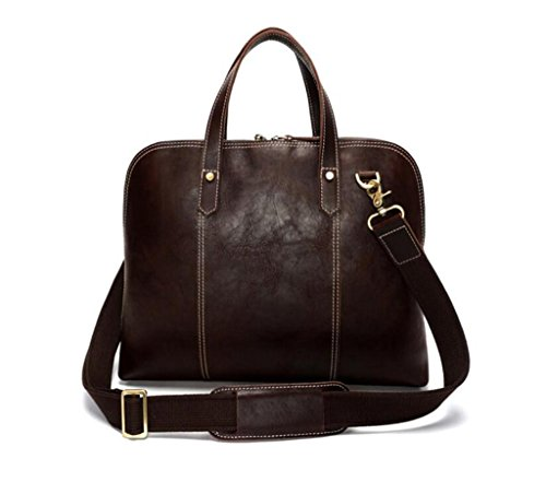 vintage resistente uomo color in borsa lavoro coffee tracolla e color viaggio lucida pelle pelle borsa messenger in shopping coffee Cartella indossabile SHOUTIBAO da 7wqUU4