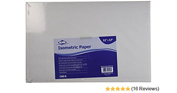 Alvin 1242 6 Isometric Paper 100 Sheet Pack 11 Inches X
