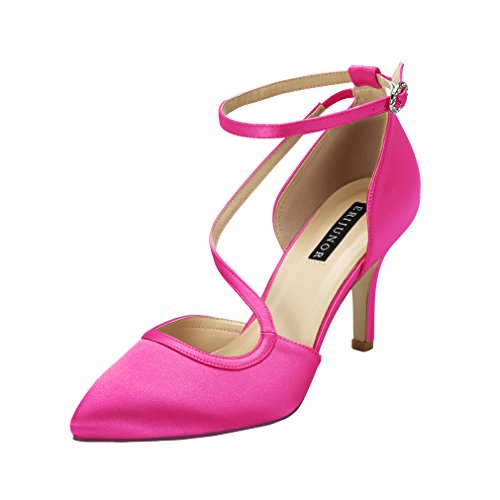 Dress Heel Pump Shoe (ERIJUNOR E1706 Women Low Heel Pointed Toe Ankle Strap Satin Wedding Evening Party Dancing Shoes Hot Pink Size 9)