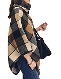 Zimase Womens Plaid Fall Winter Woolen Poncho Coat Wool Blends Coat