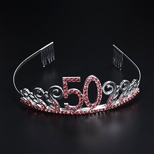 Frcolor 50th Birthday Tiara Crystal Rhinestone Women 50th