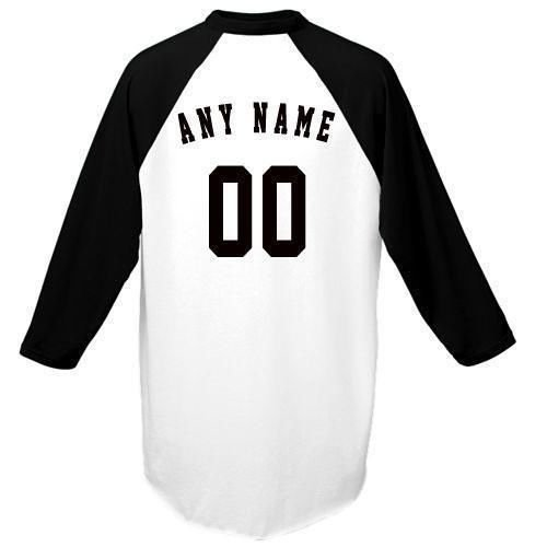 Black Adult Large Customized (Any Name and/or Number) Raglan 3/4 Colored Sleeve Baseball/Softball Shirt/Jersey (Youth & Adult) (Best Softball Jersey Names)